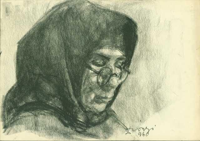 Szemüveges, fejkendős, idős nő - Diószegi Balázs hagyatékából