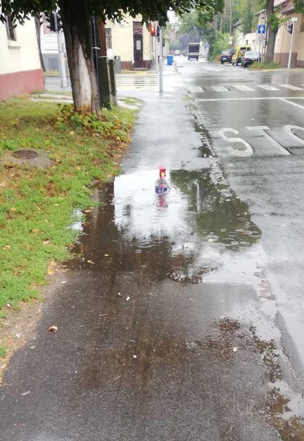 Nagysándor József utca - kátyú - eső